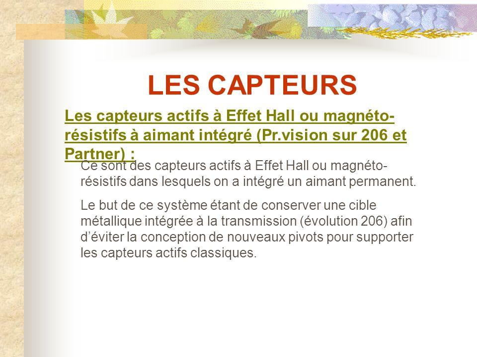 LES CAPTEURS Les capteurs actifs à Effet Hall ou magnéto-résistifs à aimant intégré (Pr.vision sur 206 et Partner) :