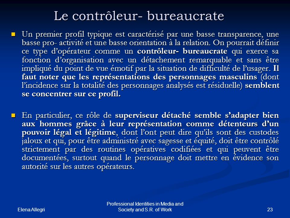 Le contrôleur- bureaucrate