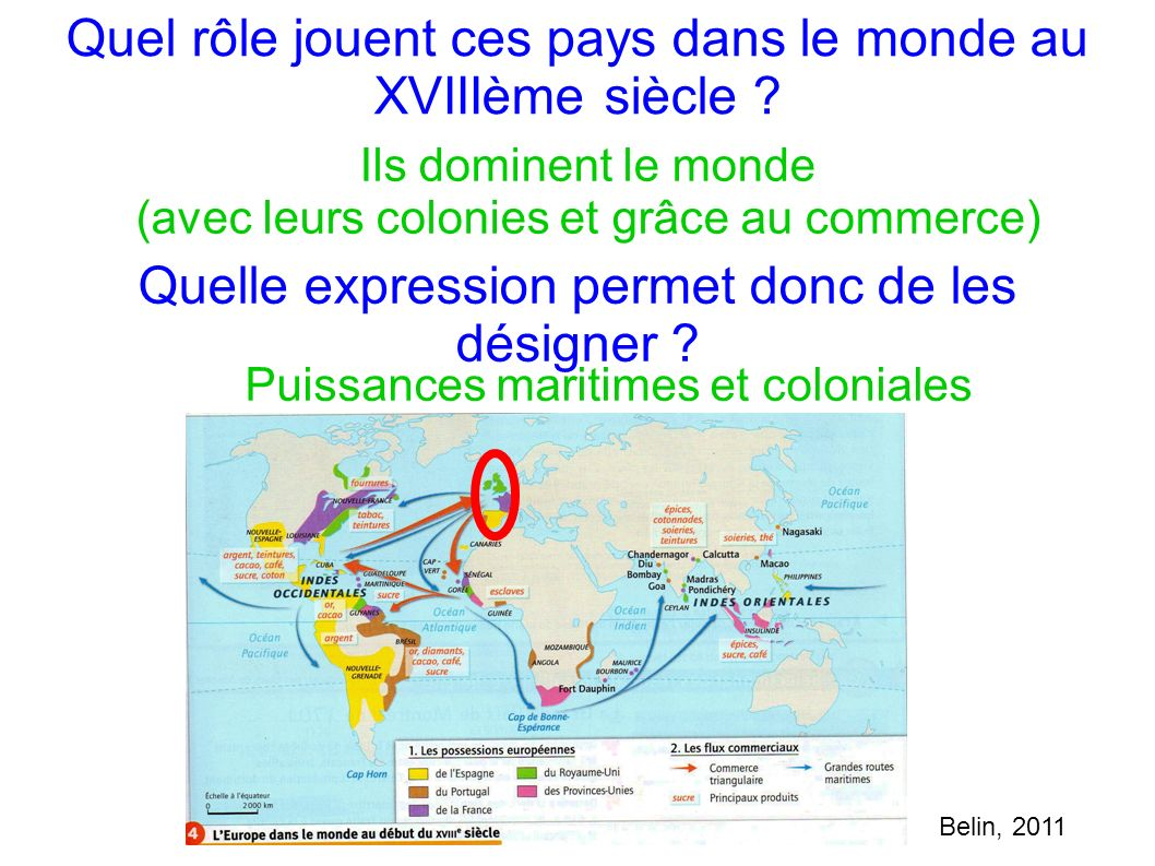 Quel rôle jouent ces pays dans le monde au XVIIIème siècle