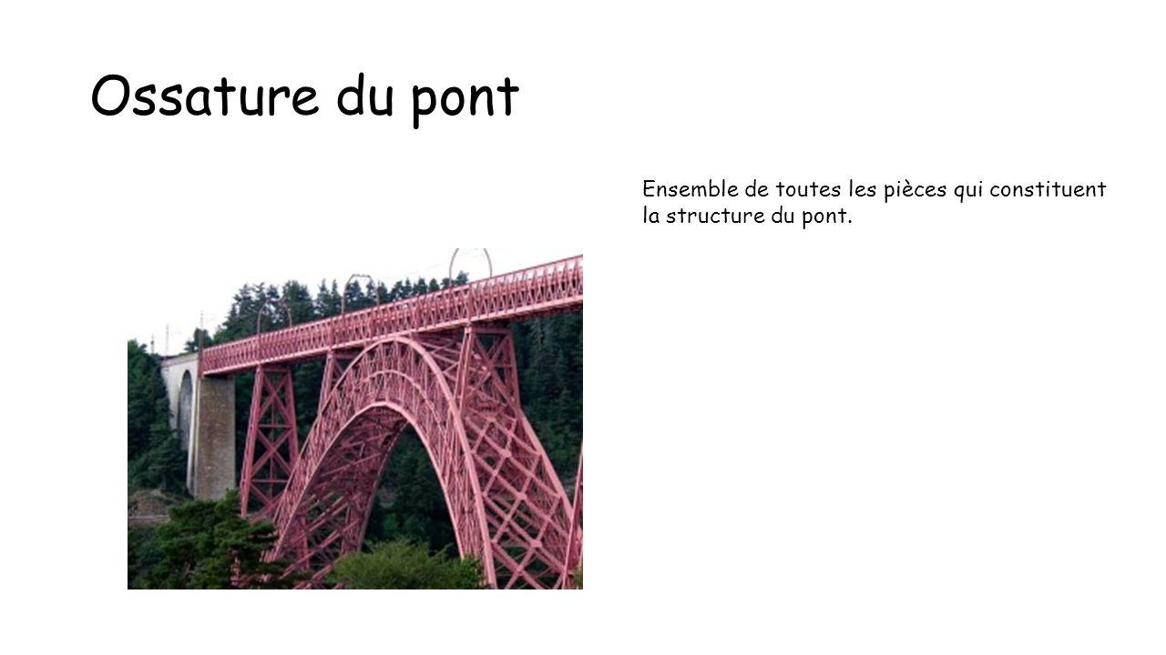 Ossature du pont Ensemble de toutes les pièces qui constituent la structure du pont.