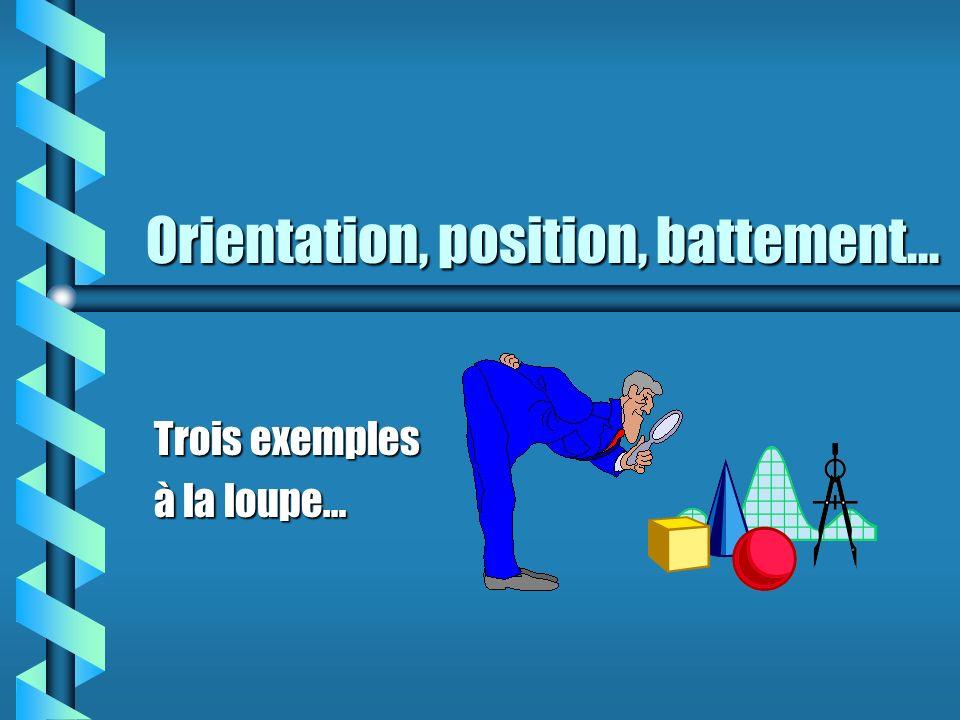 Orientation, position, battement...