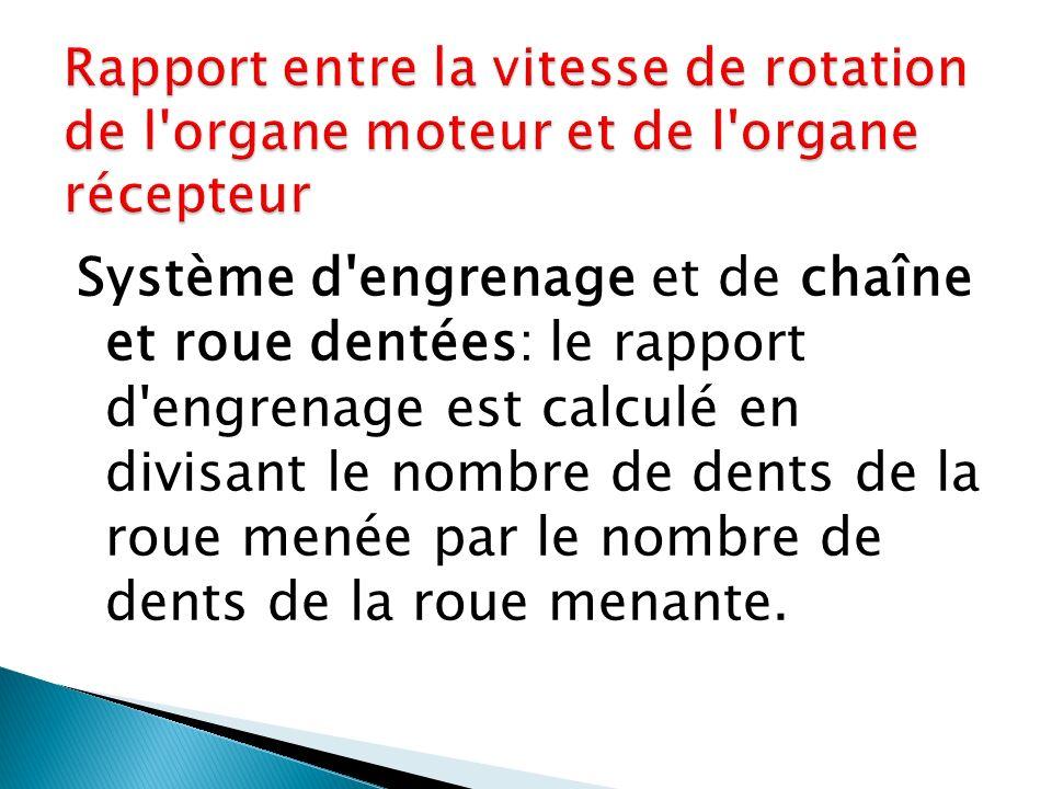 Rapport entre la vitesse de rotation de l organe moteur et de l organe récepteur