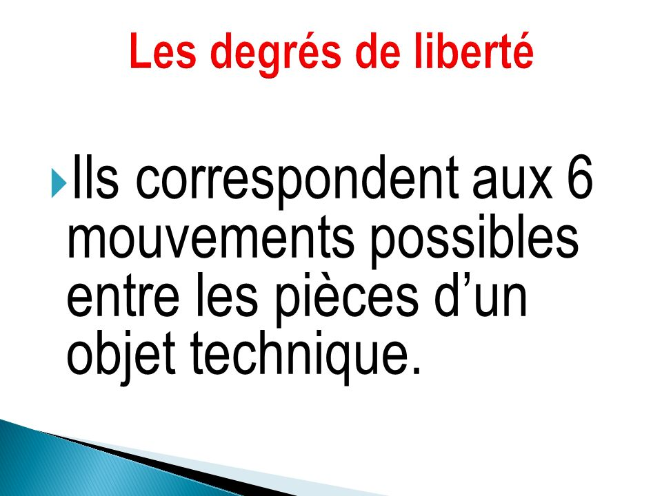 Les degrés de liberté Ils correspondent aux 6 mouvements possibles entre les pièces d'un objet technique.