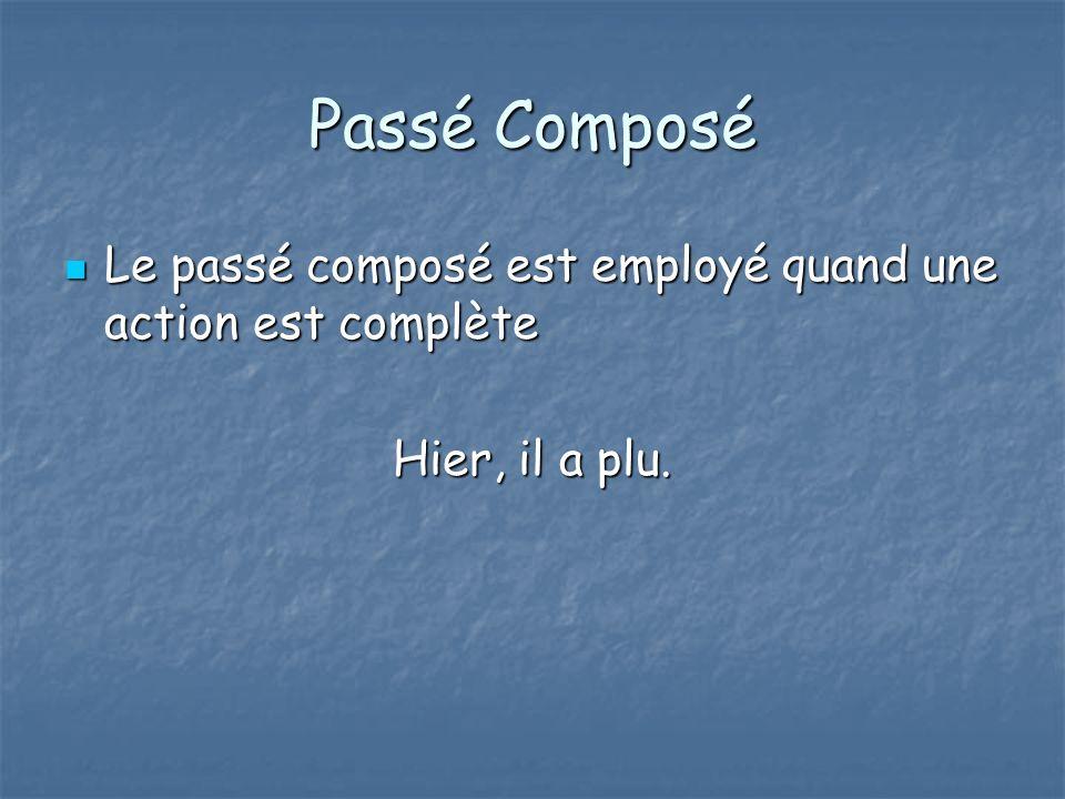 Passé Composé Le passé composé est employé quand une action est complète Hier, il a plu.