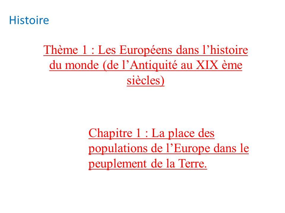 Histoire Thème 1 : Les Européens dans l'histoire du monde (de l'Antiquité au XIX ème siècles)