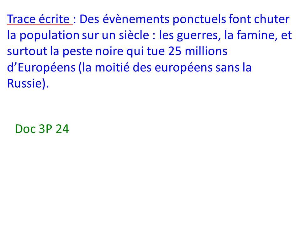 Trace écrite : Des évènements ponctuels font chuter la population sur un siècle : les guerres, la famine, et surtout la peste noire qui tue 25 millions d'Européens (la moitié des européens sans la Russie).