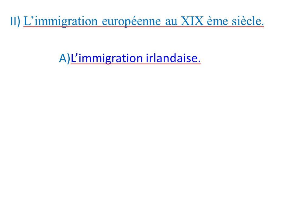 II) L'immigration européenne au XIX ème siècle.
