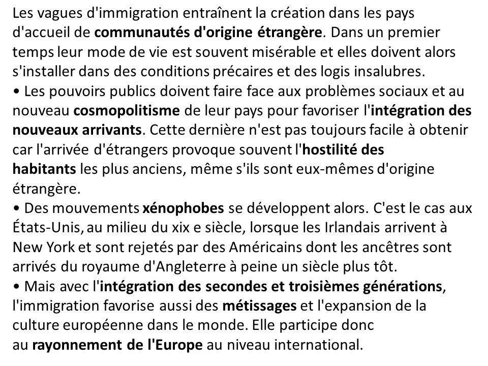 Les vagues d immigration entraînent la création dans les pays d accueil de communautés d origine étrangère. Dans un premier temps leur mode de vie est souvent misérable et elles doivent alors s installer dans des conditions précaires et des logis insalubres.