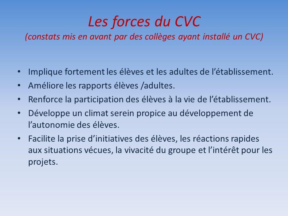 Les forces du CVC (constats mis en avant par des collèges ayant installé un CVC)