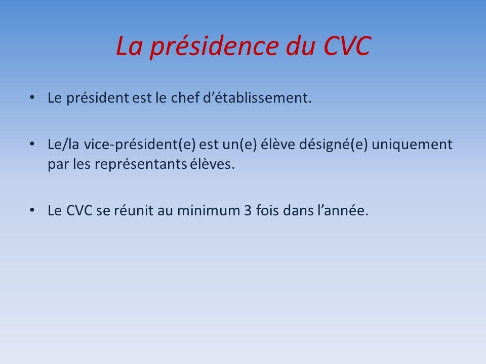 La présidence du CVC Le président est le chef d'établissement.