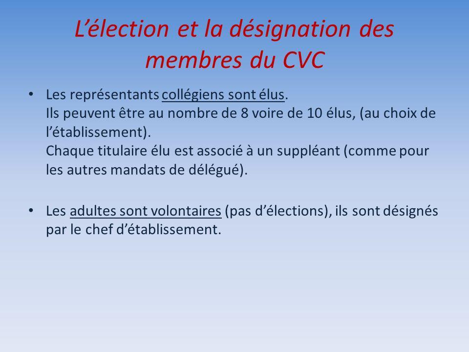 L'élection et la désignation des membres du CVC