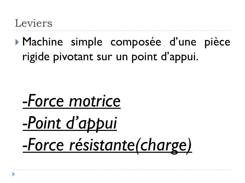 -Force résistante(charge)