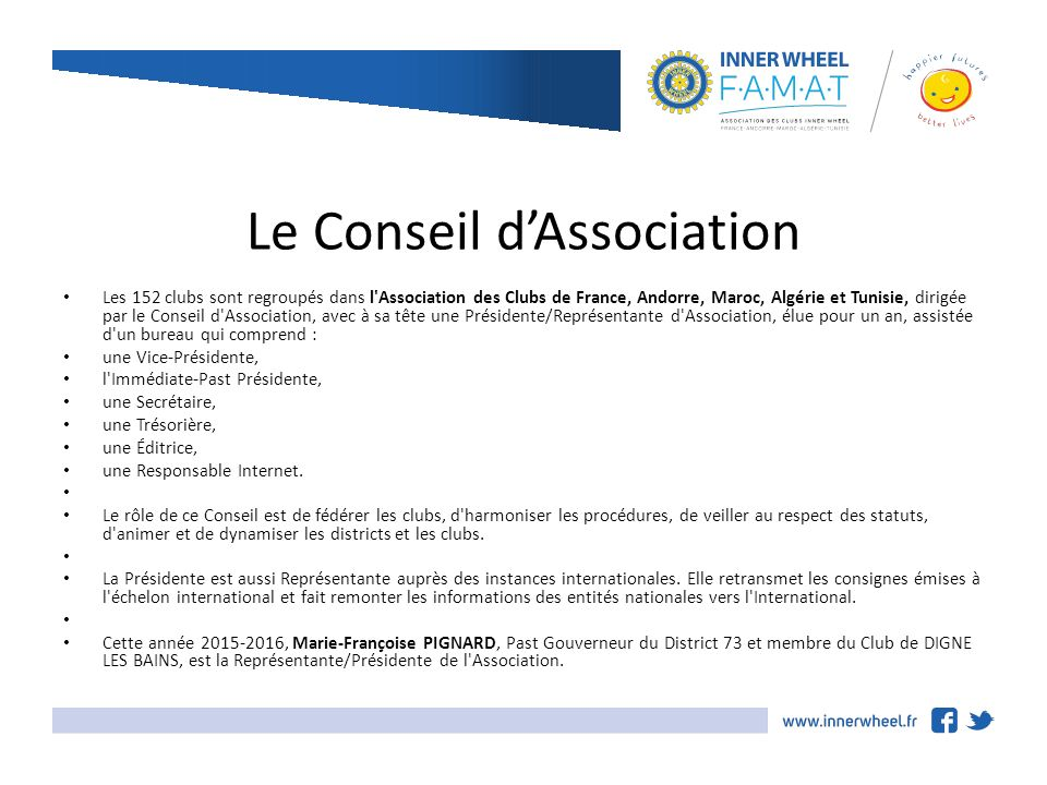 Le Conseil dAssociation ppt tlcharger