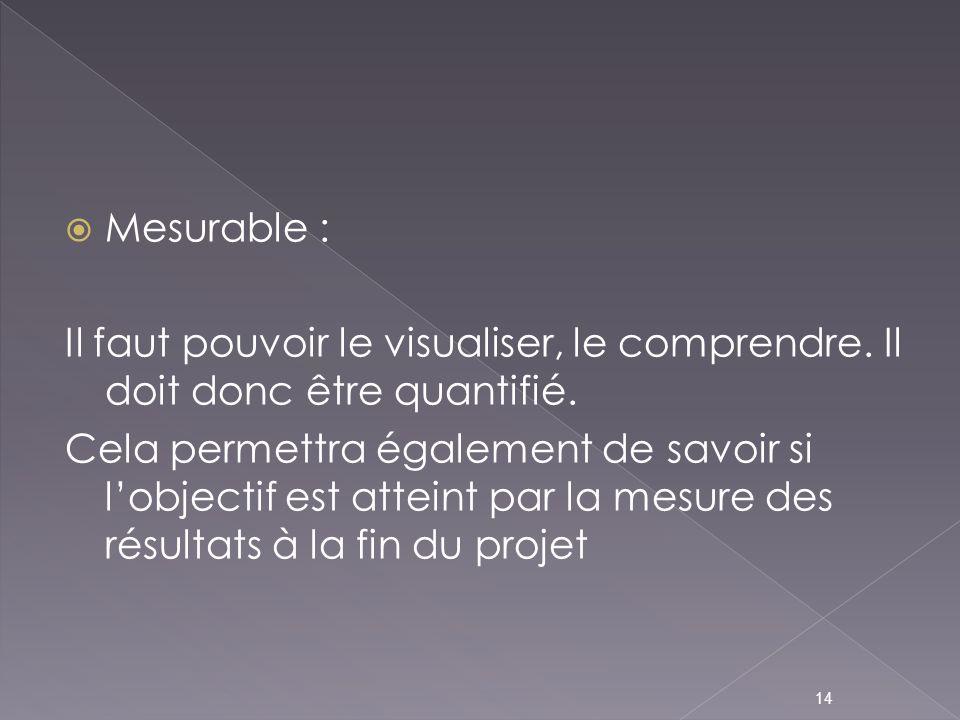 Mesurable : Il faut pouvoir le visualiser, le comprendre. Il doit donc être quantifié.