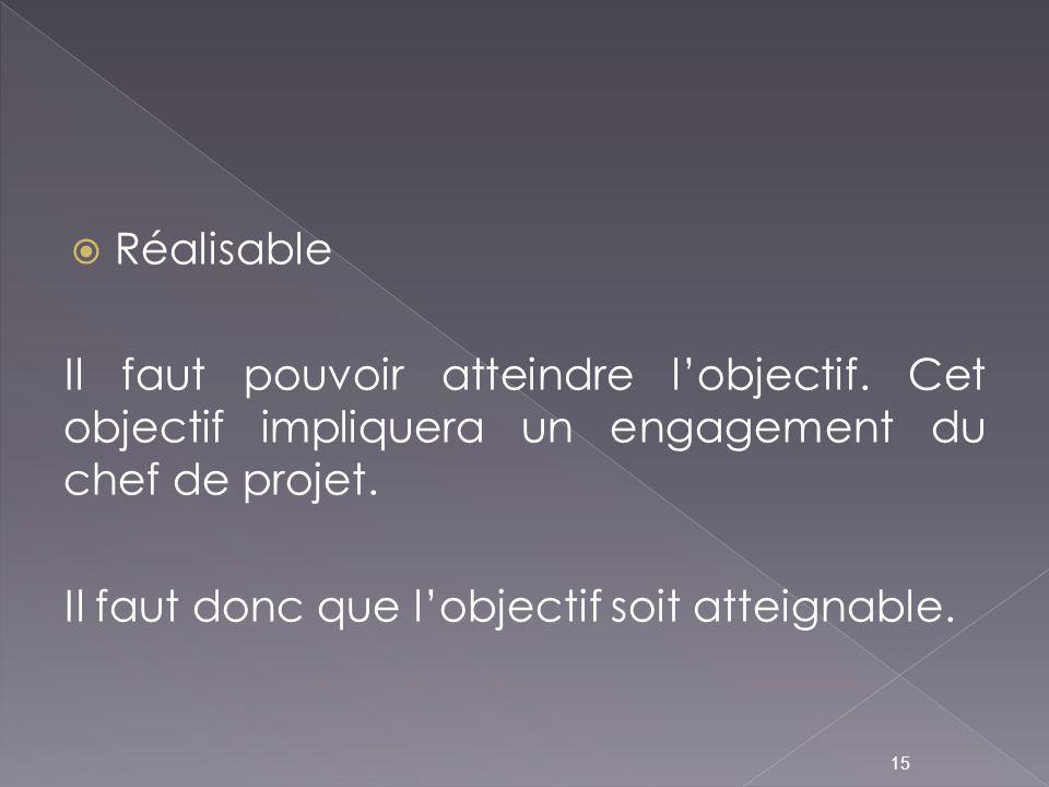 Réalisable Il faut pouvoir atteindre l'objectif. Cet objectif impliquera un engagement du chef de projet.