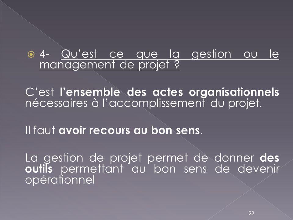 4- Qu'est ce que la gestion ou le management de projet