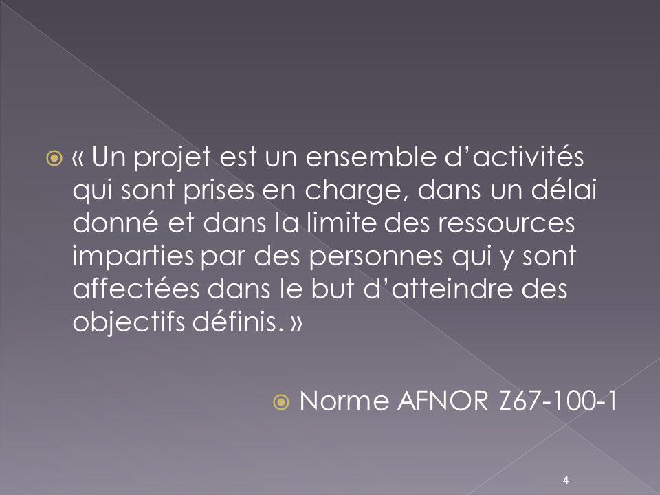 « Un projet est un ensemble d'activités qui sont prises en charge, dans un délai donné et dans la limite des ressources imparties par des personnes qui y sont affectées dans le but d'atteindre des objectifs définis. »