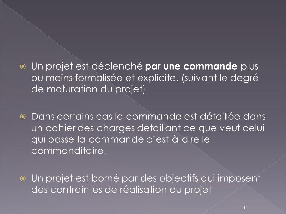 Un projet est déclenché par une commande plus ou moins formalisée et explicite. (suivant le degré de maturation du projet)
