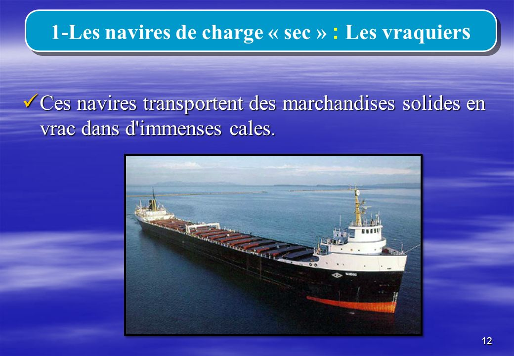 1-Les navires de charge « sec » : Les vraquiers