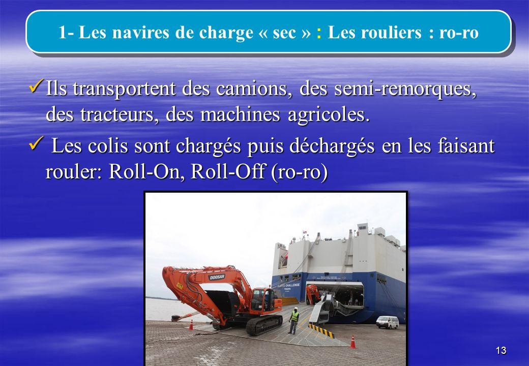 1- Les navires de charge « sec » : Les rouliers : ro-ro