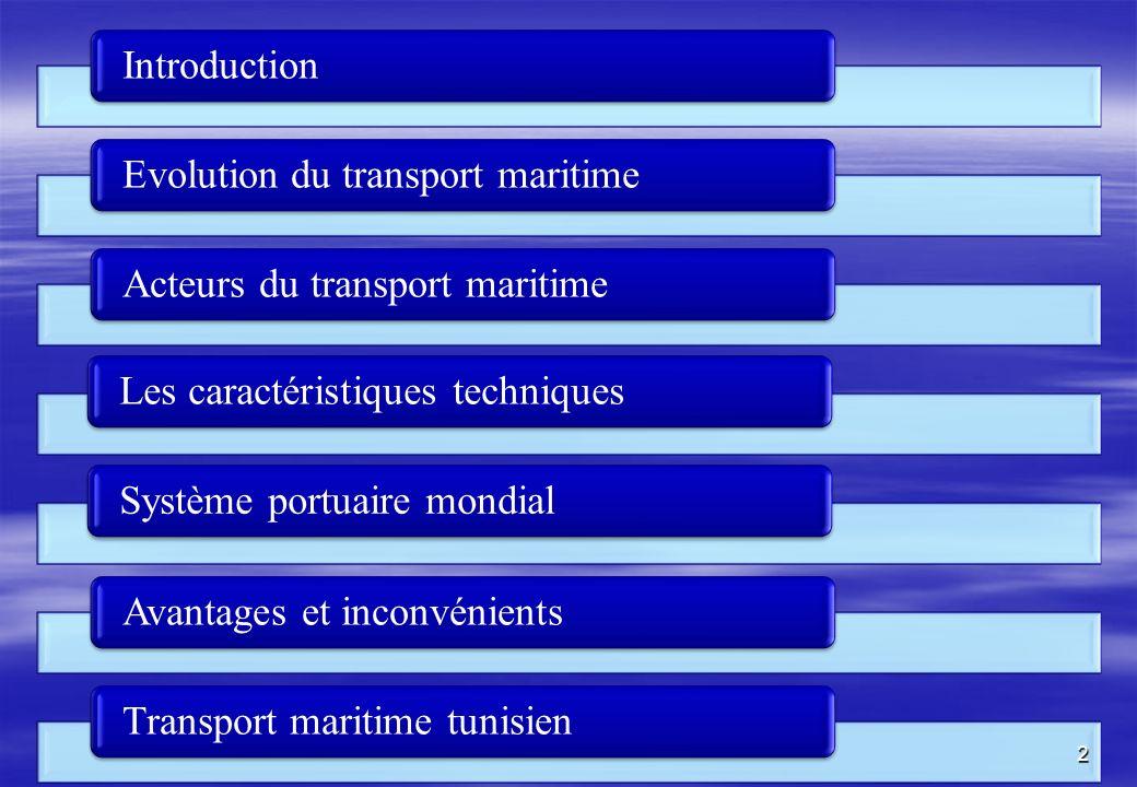 Introduction Evolution du transport maritime. Acteurs du transport maritime. Les caractéristiques techniques.