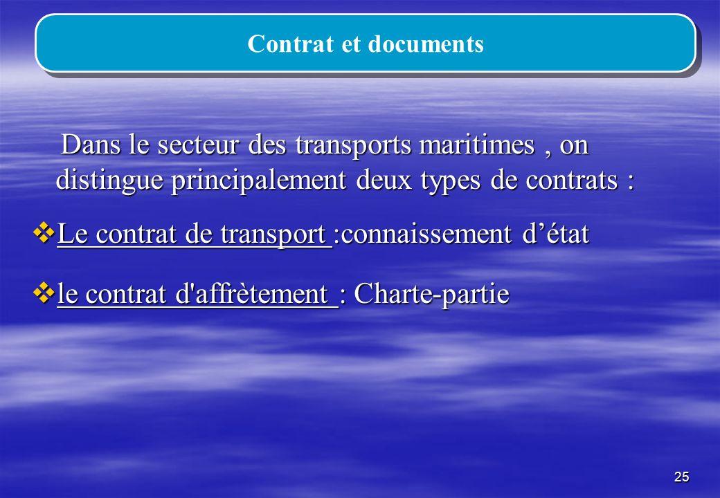 Le contrat de transport :connaissement d'état