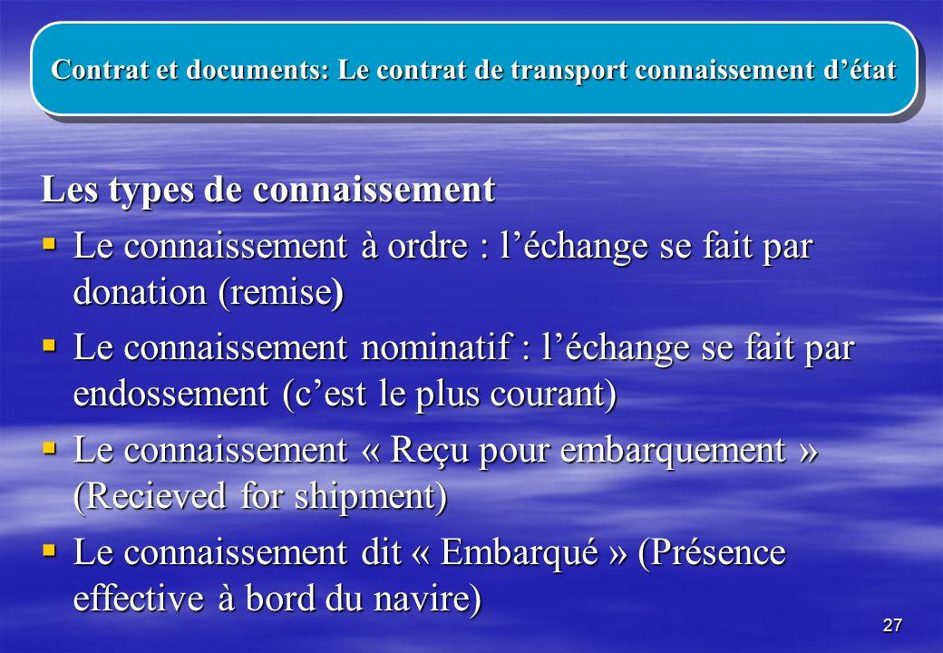 Contrat et documents: Le contrat de transport connaissement d'état