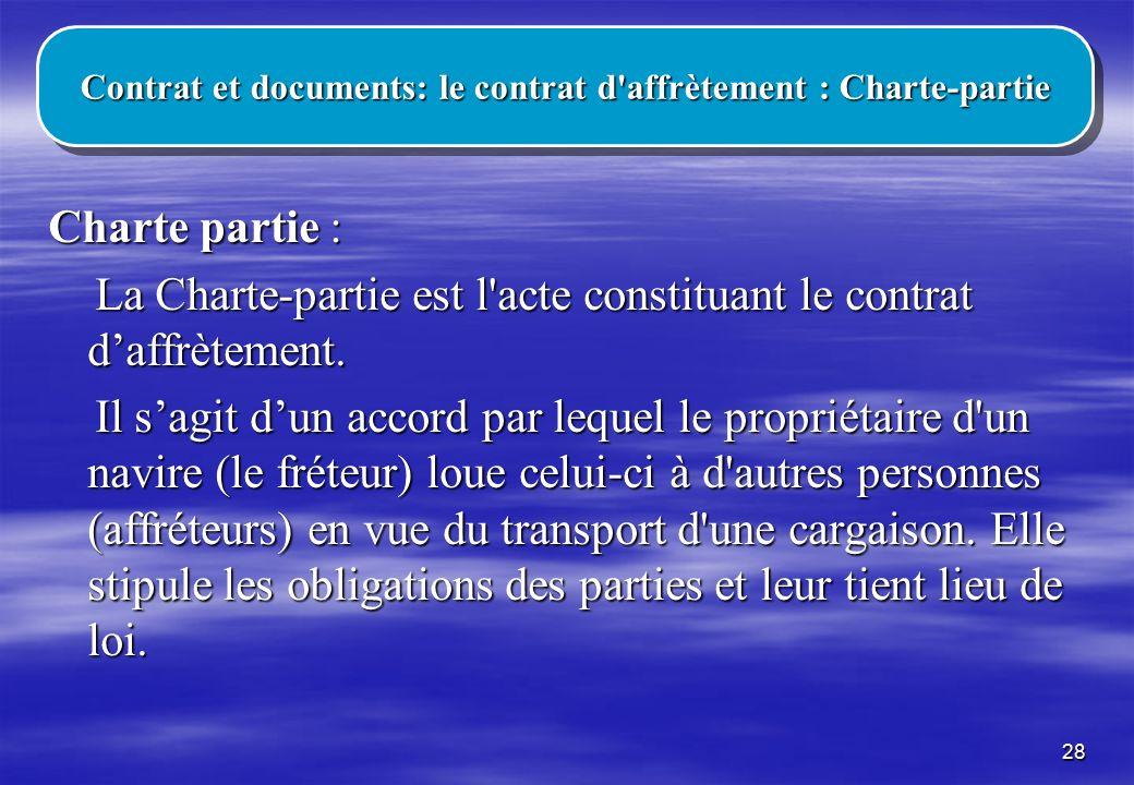 Contrat et documents: le contrat d affrètement : Charte-partie