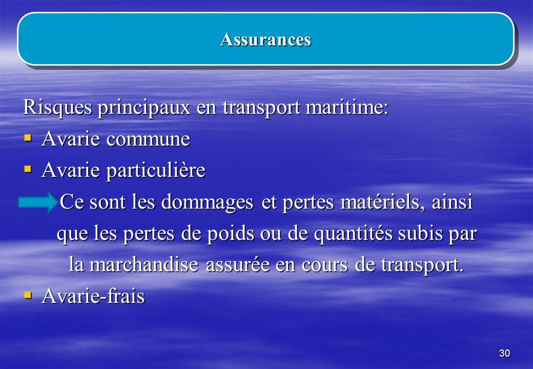 Risques principaux en transport maritime: Avarie commune
