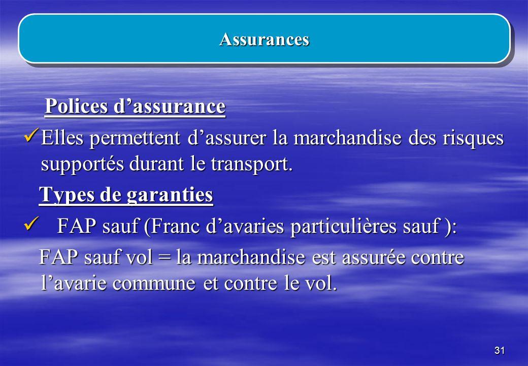 FAP sauf (Franc d'avaries particulières sauf ):