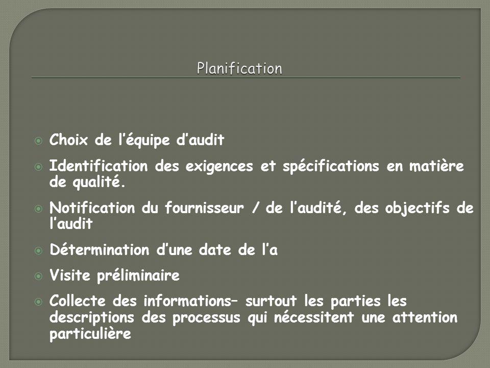 Planification Choix de l'équipe d'audit. Identification des exigences et spécifications en matière de qualité.