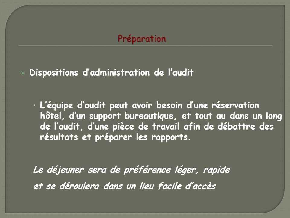 Préparation Dispositions d'administration de l'audit.