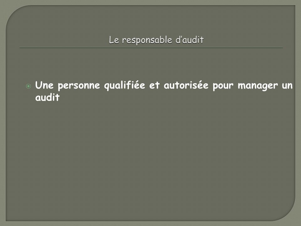 Le responsable d'audit