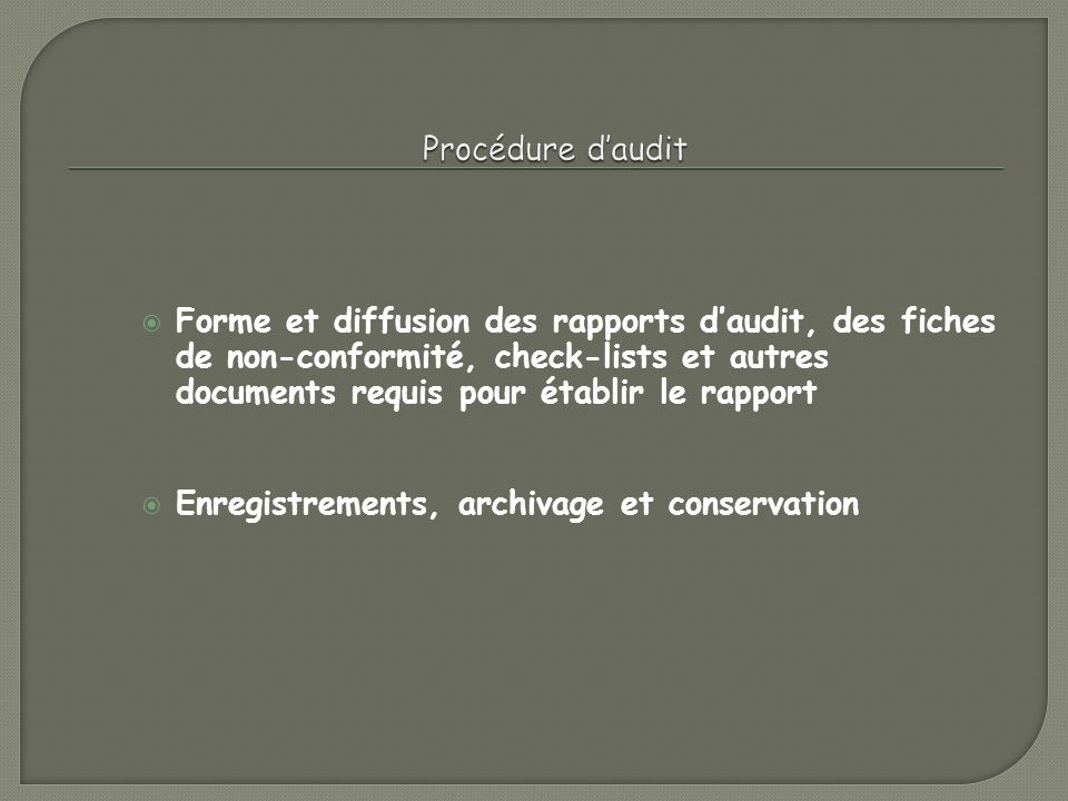 Procédure d'audit