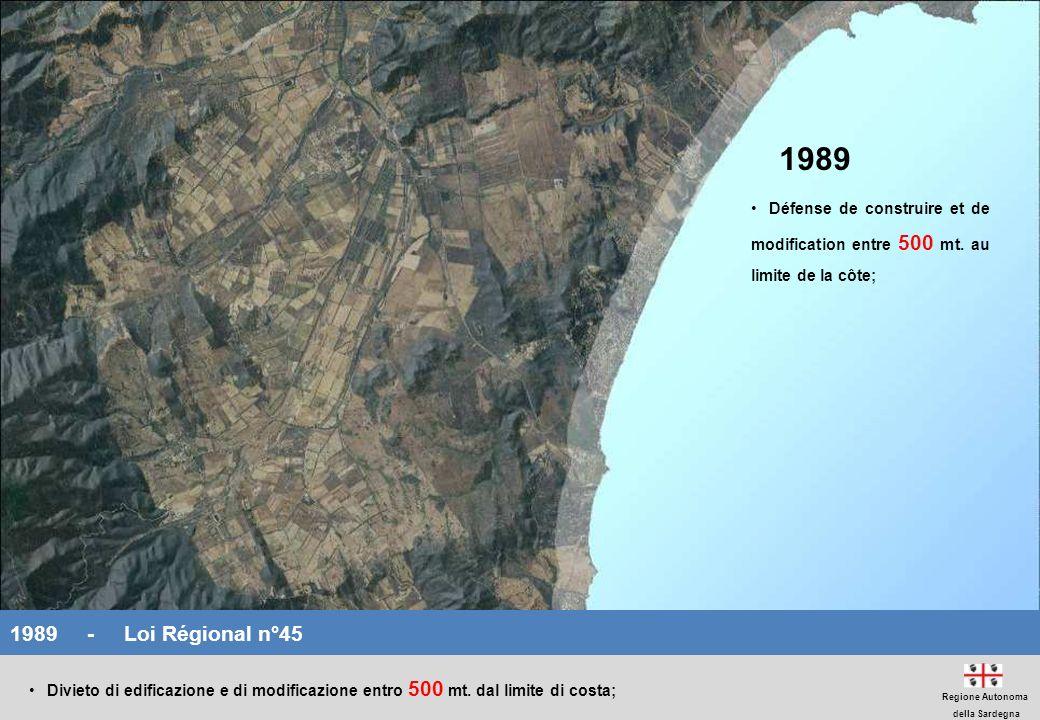 1989 Défense de construire et de modification entre 500 mt. au limite de la côte; 1989 - Loi Régional n°45.