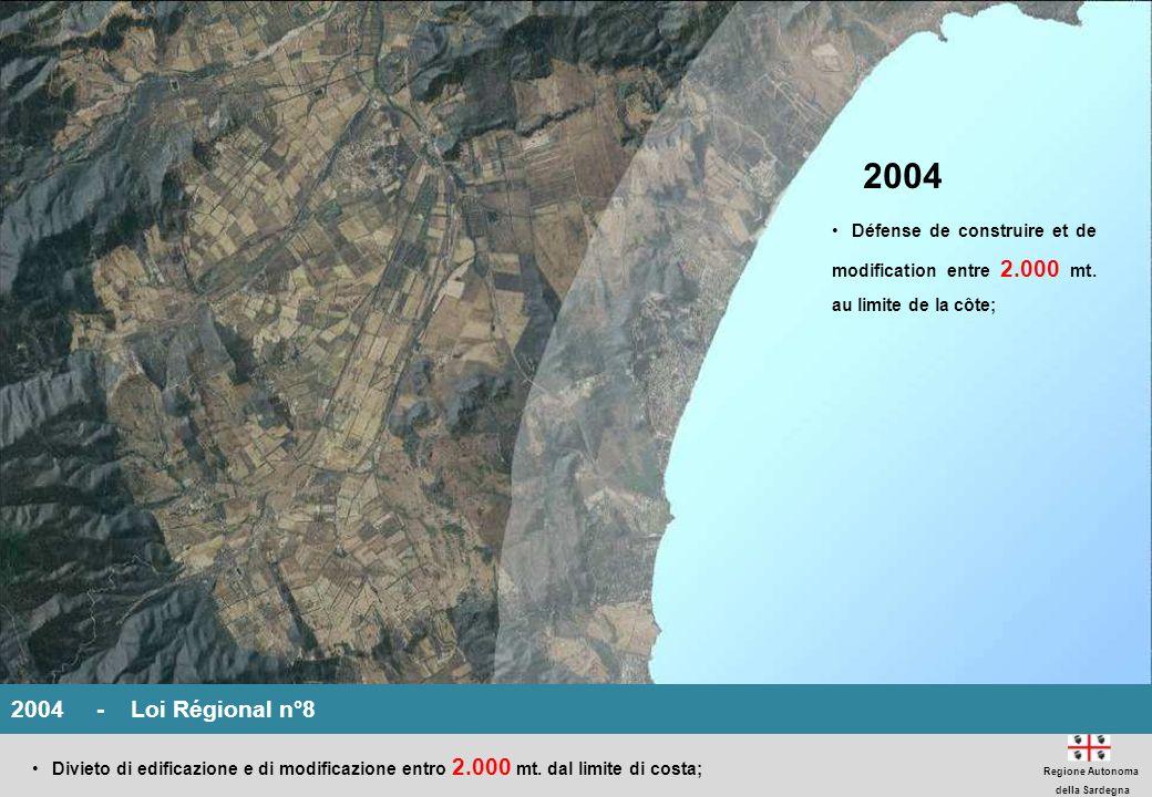 2004 Défense de construire et de modification entre 2.000 mt. au limite de la côte;