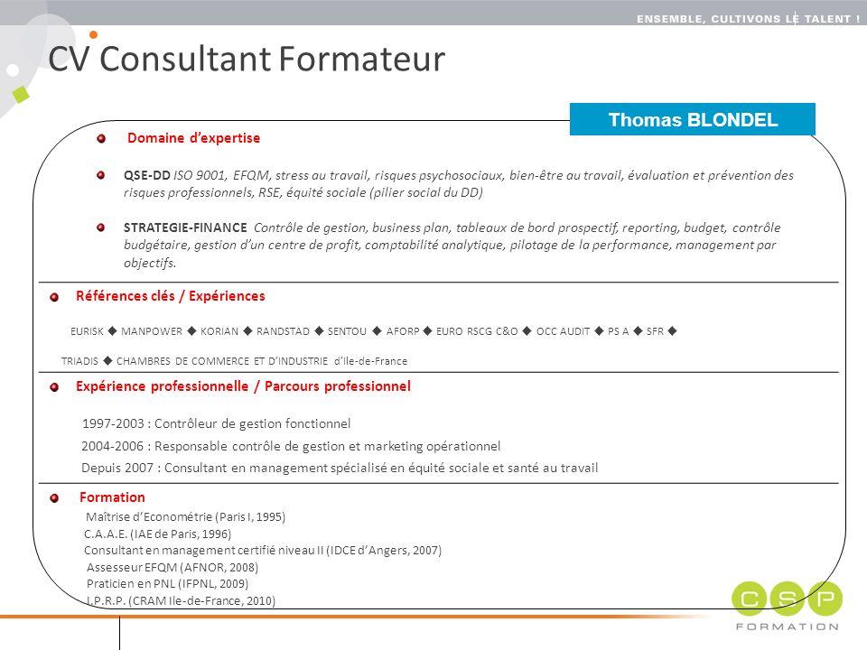 cv consultant formateur