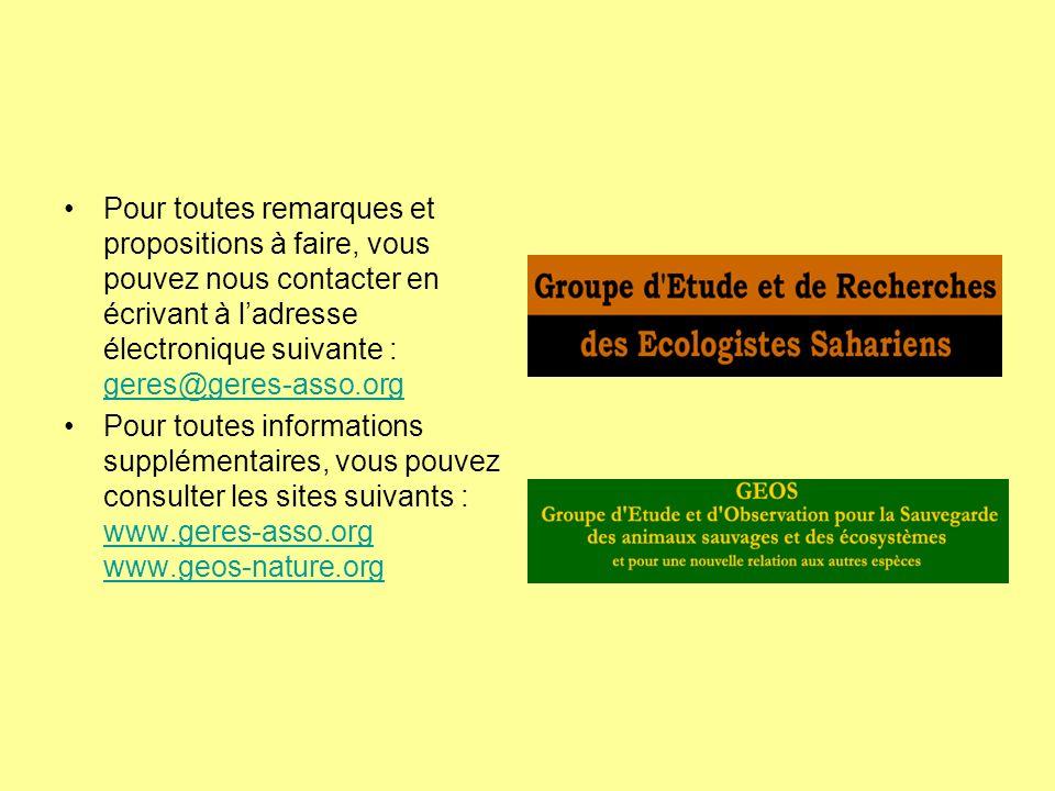 Pour toutes remarques et propositions à faire, vous pouvez nous contacter en écrivant à l'adresse électronique suivante : geres@geres-asso.org
