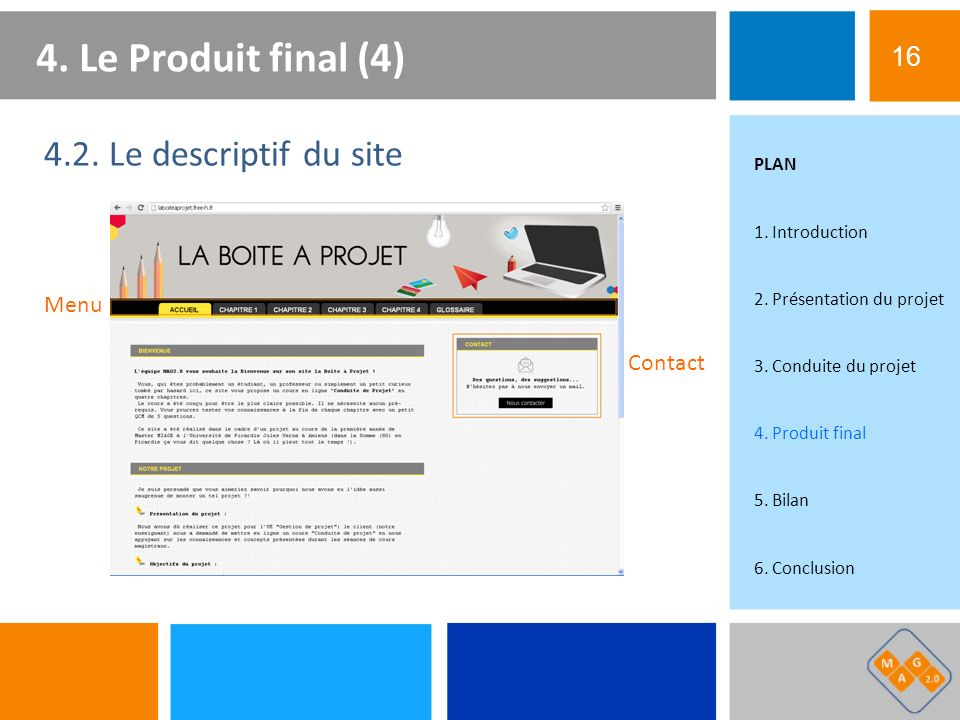 4. Le Produit final (4) 4.2. Le descriptif du site 16 Menu Contact