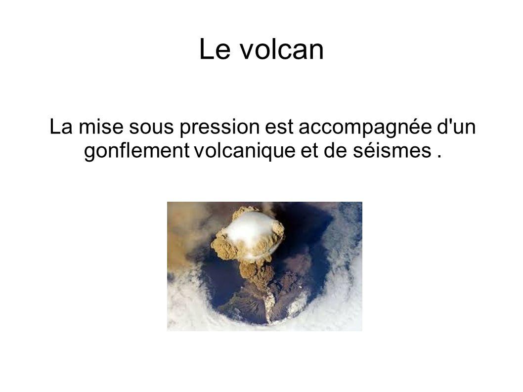 Le volcan La mise sous pression est accompagnée d un gonflement volcanique et de séismes .