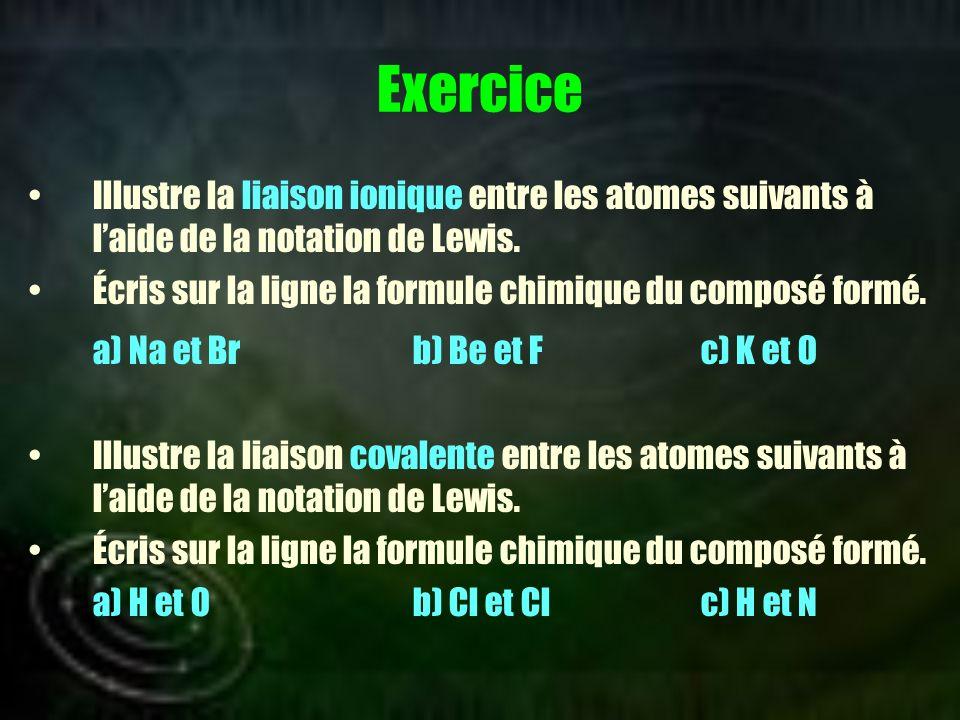 Exercice a) Na et Br b) Be et F c) K et O