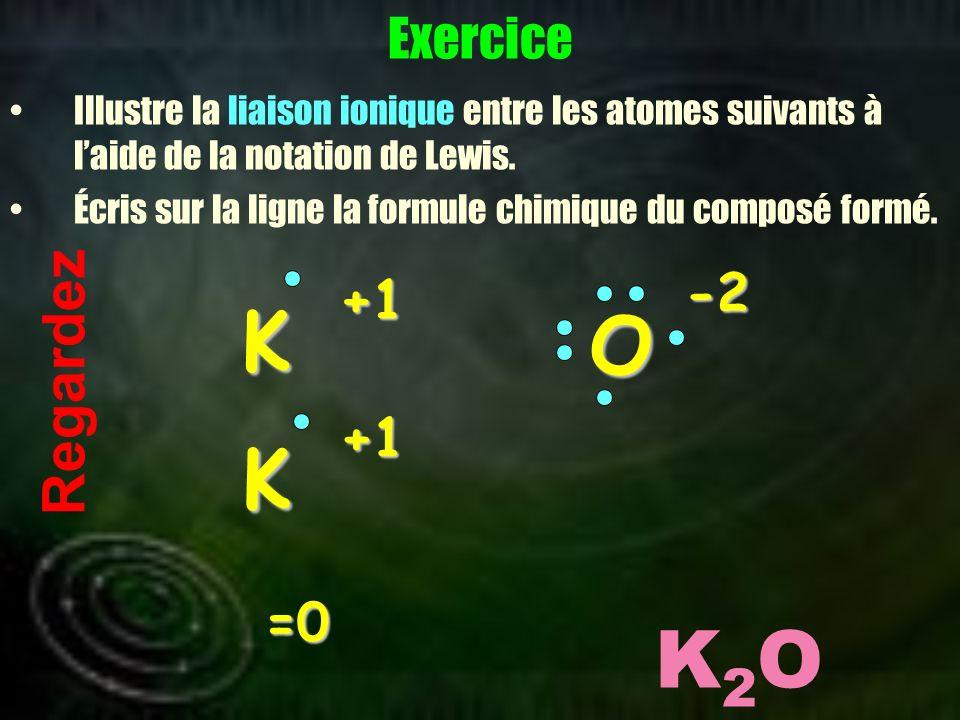 K O K K2O Regardez Exercice -2 +1 +1 =0