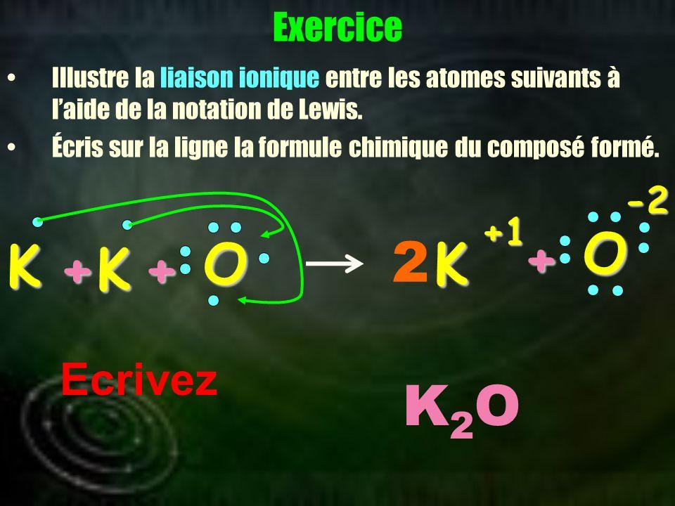 O O + K 2 K + K + K2O Ecrivez Exercice -2 +1