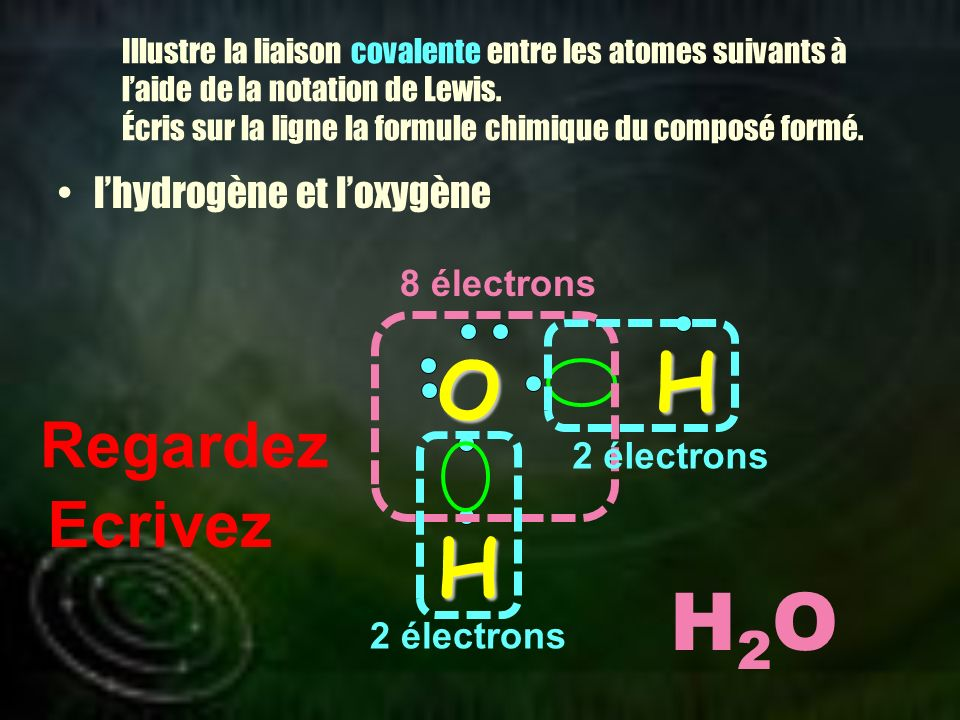 H O H H2O Regardez Ecrivez l'hydrogène et l'oxygène 8 électrons