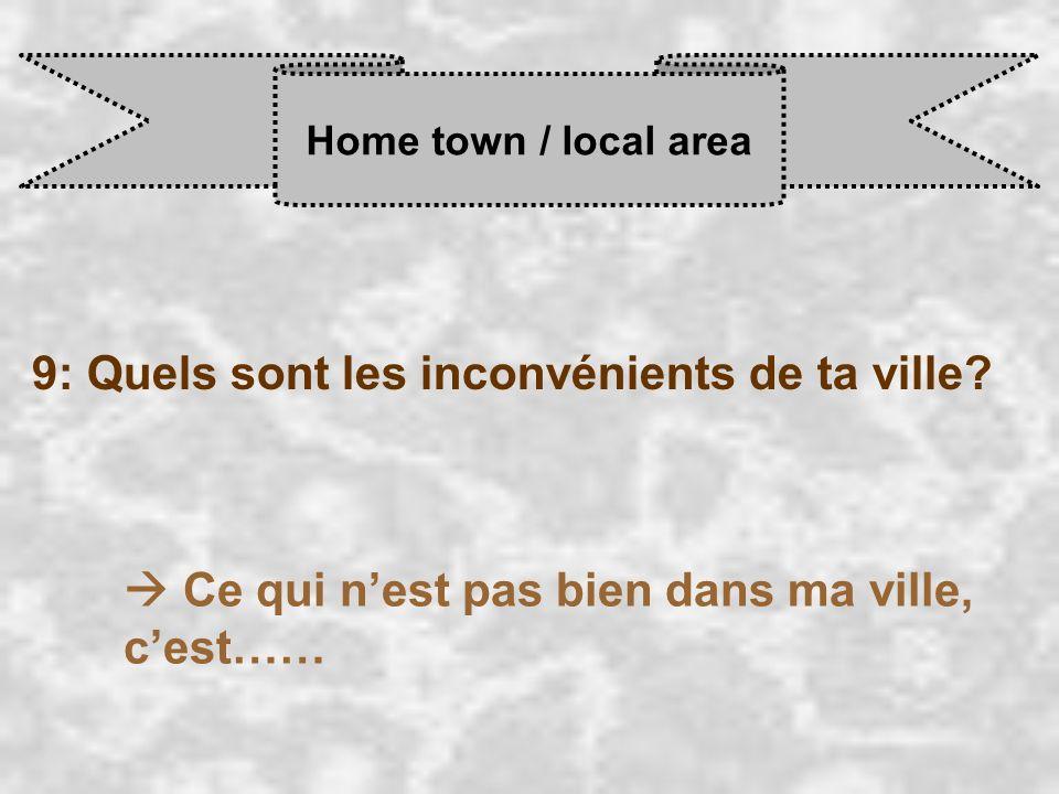 9: Quels sont les inconvénients de ta ville