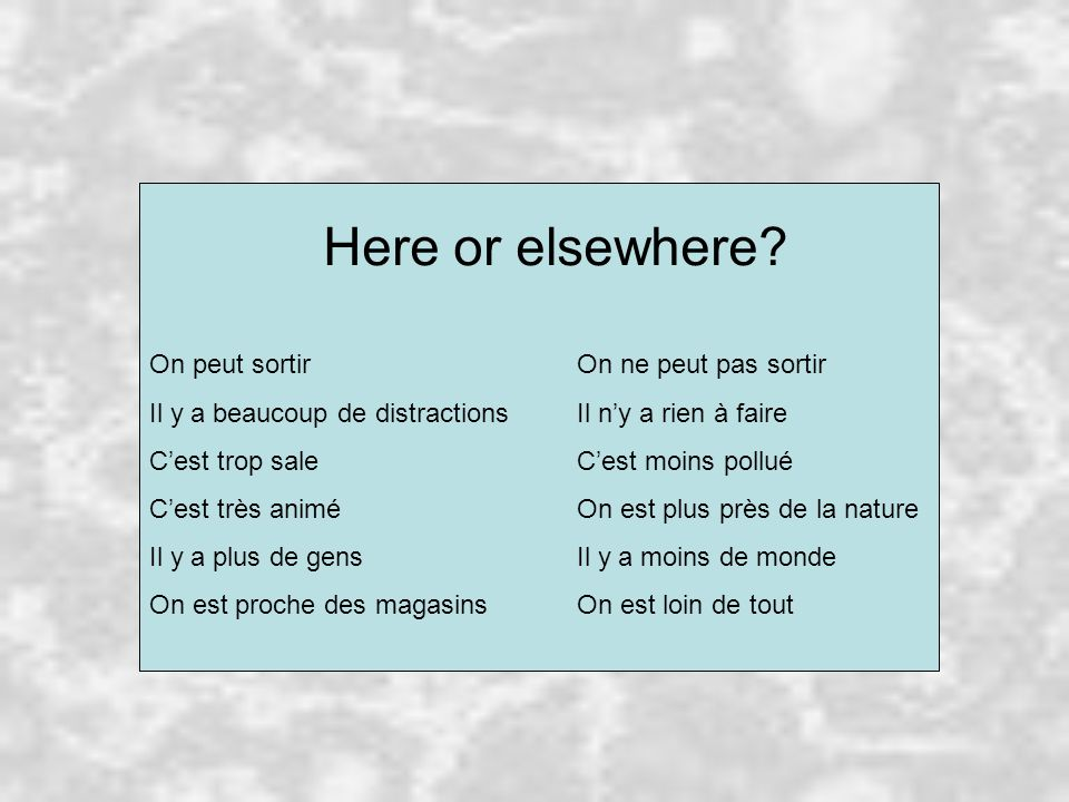 Here or elsewhere On peut sortir On ne peut pas sortir