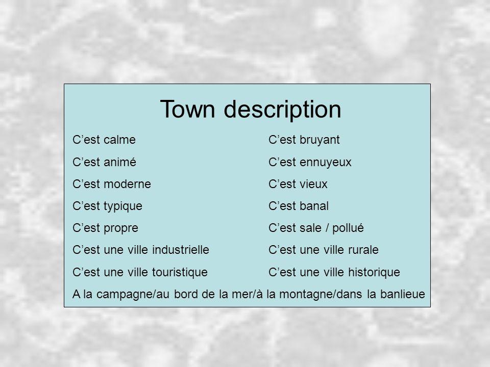 Town description C'est calme C'est bruyant C'est animé C'est ennuyeux