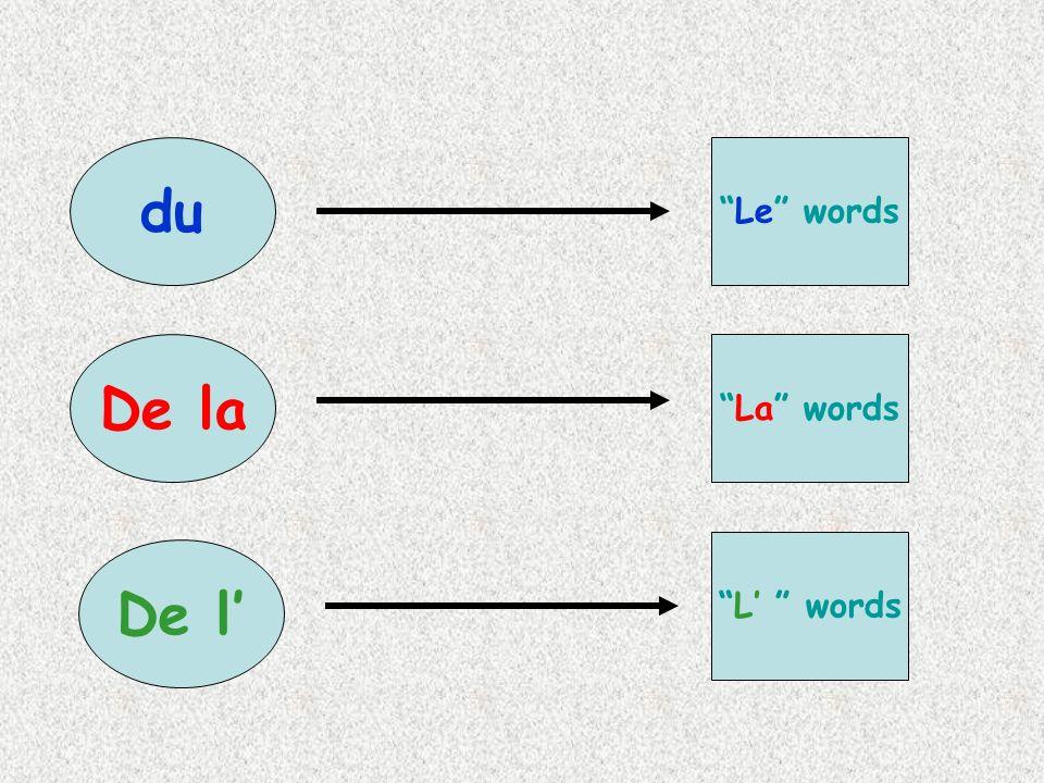 du Le words De la La words L' words De l'