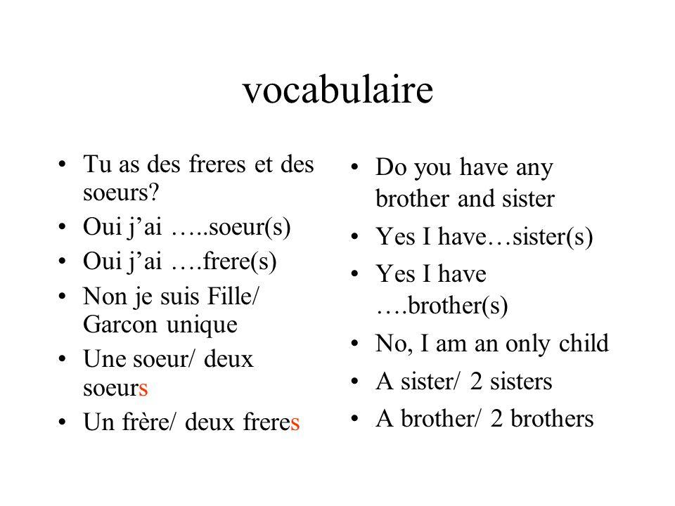 vocabulaire Tu as des freres et des soeurs Oui j'ai …..soeur(s)