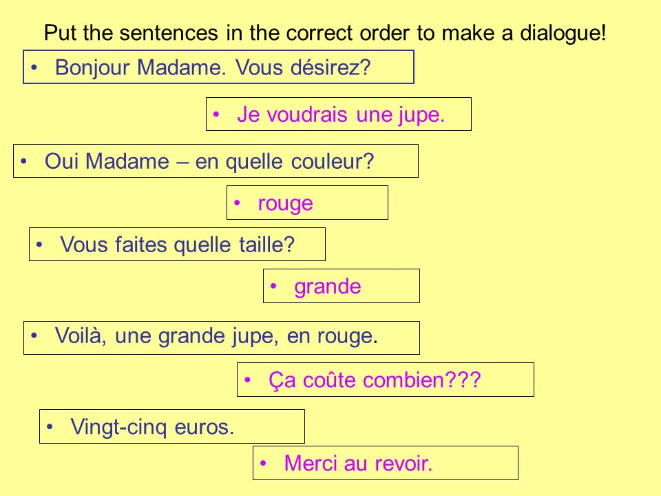 Put the sentences in the correct order to make a dialogue!